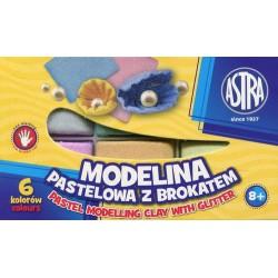 ASTRA Modelina pastelowa z brokatem 6 kolorów